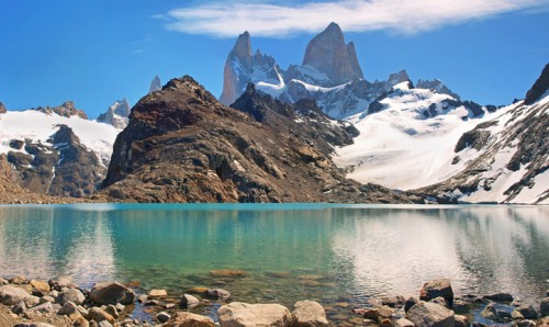 Beautiful Laguna de Los Tres with Mt Fitz Roy in the background as seen in Patagonia, Argentina.